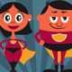 Superhero Couple Cartoon - GraphicRiver Item for Sale