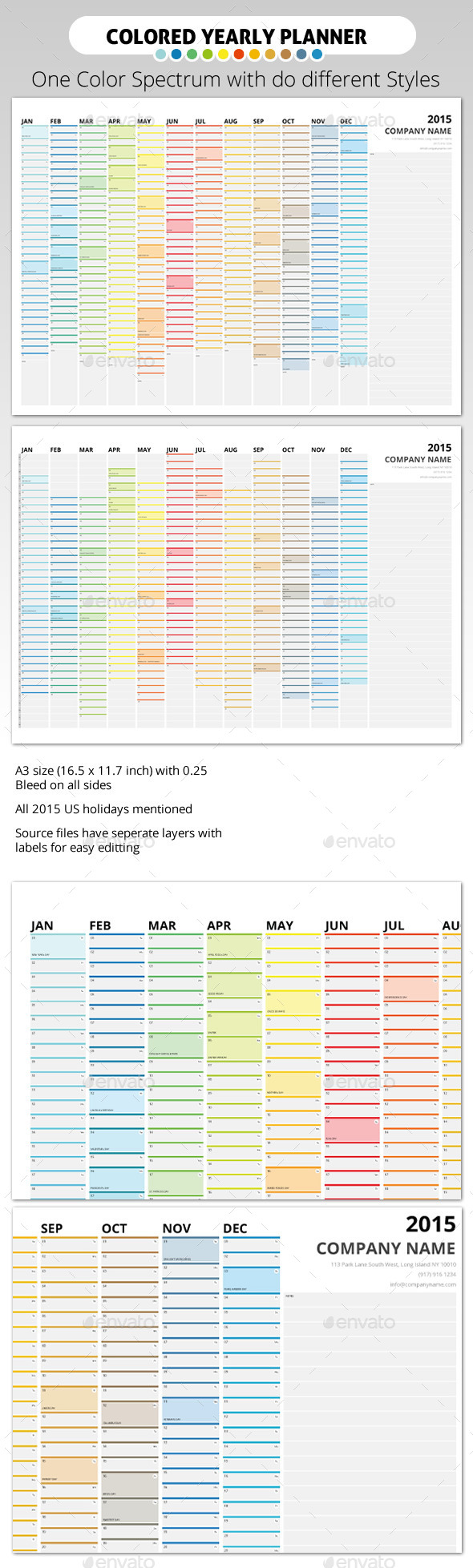 GraphicRiver 2015 Colored Wall Year Planner 9405004