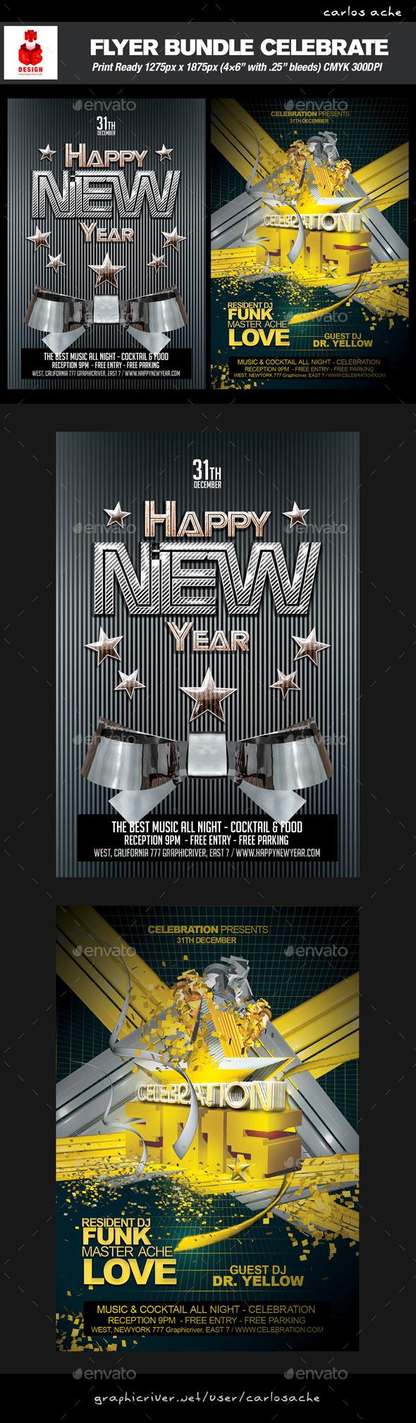 GraphicRiver Celebration Flyer Bundle 9444045