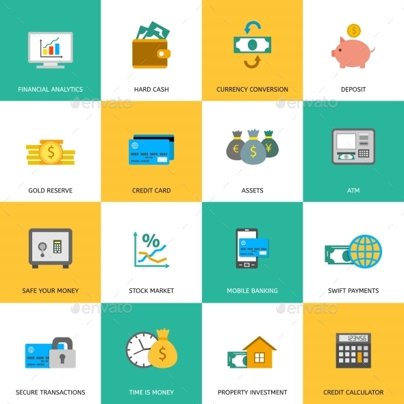 GraphicRiver Set of Finance and Money Icons 9444424