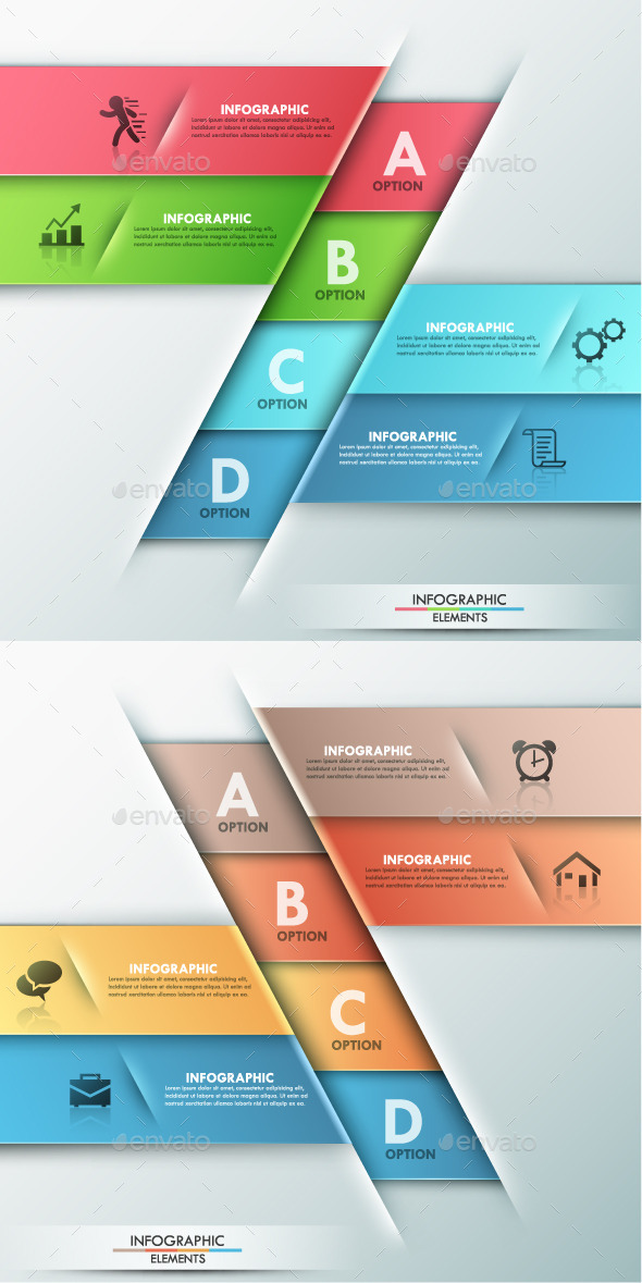 Modern Infographic Options Template 2 Colors