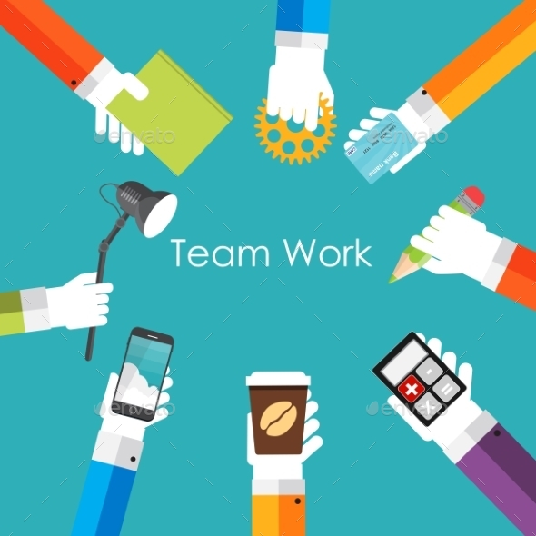 GraphicRiver Team Work Flat Concept Vector Illustration 9444832