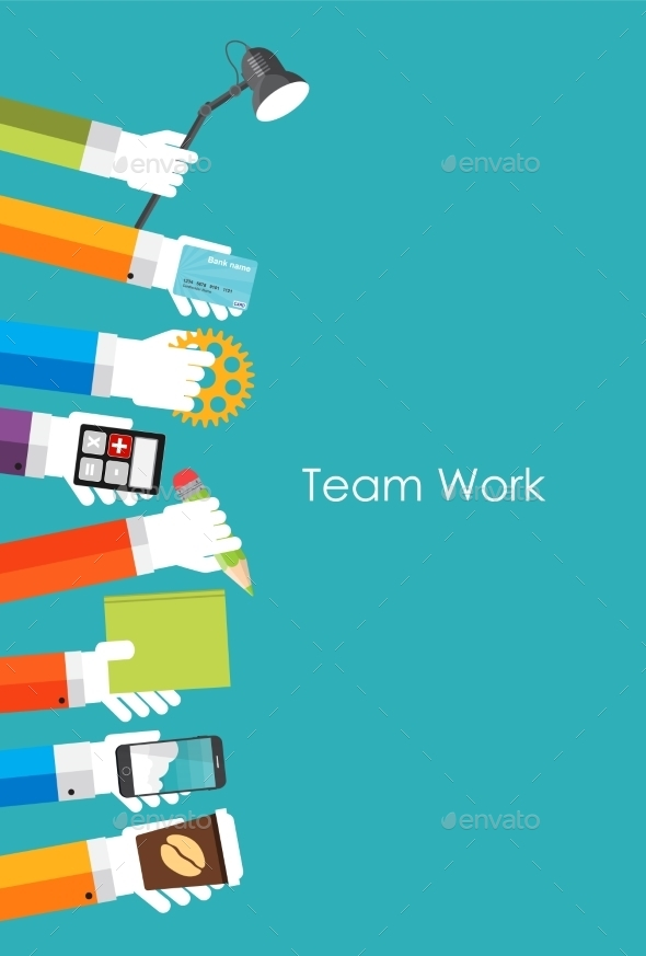 GraphicRiver Team Work Flat Concept Vector Illustration 9444834