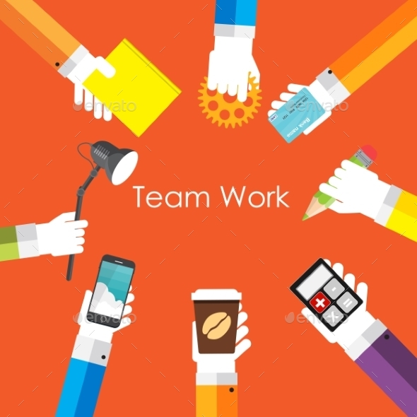 GraphicRiver Team Work Flat Concept Vector Illustration 9444887