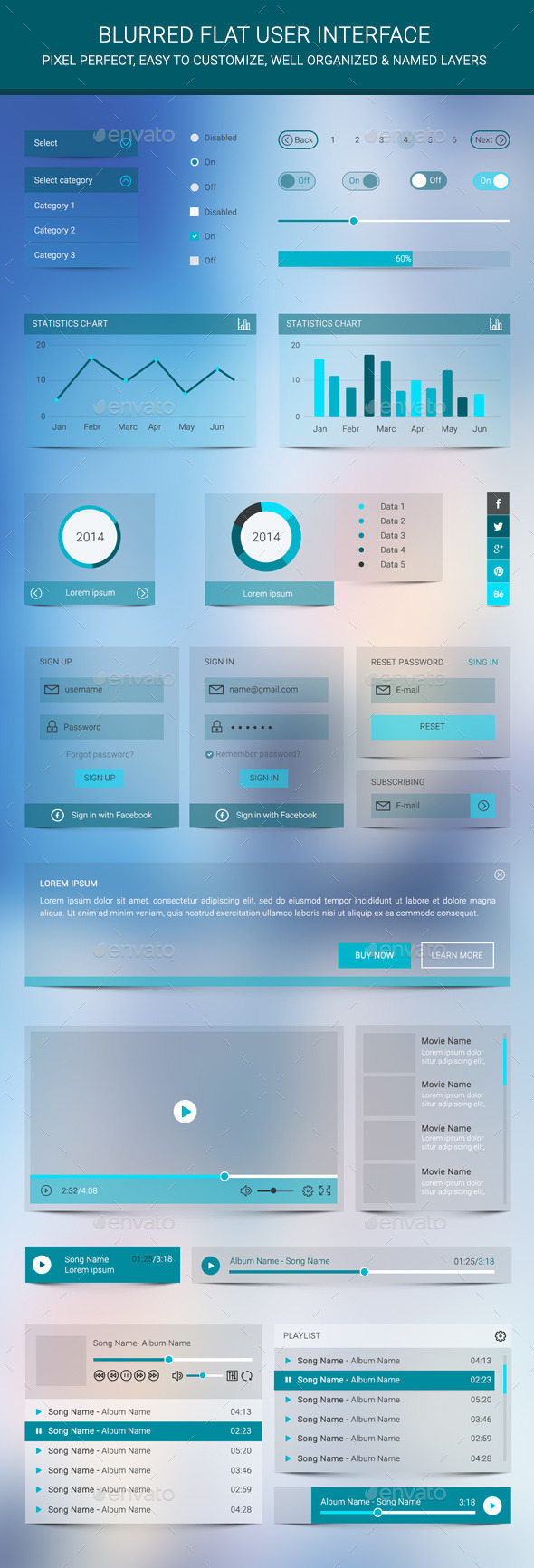 GraphicRiver Blurred Flat User Interface 9444907