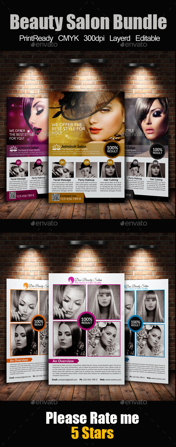 GraphicRiver A4 Beauty Salon Flyer Bundle 9445339