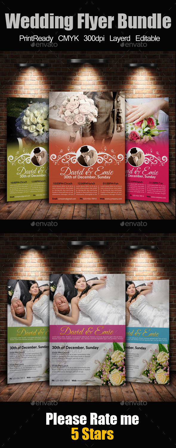 GraphicRiver A4 Wedding Flyer Bundle 9445596