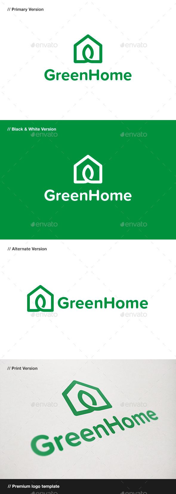 GraphicRiver Green Home Logo 9445598