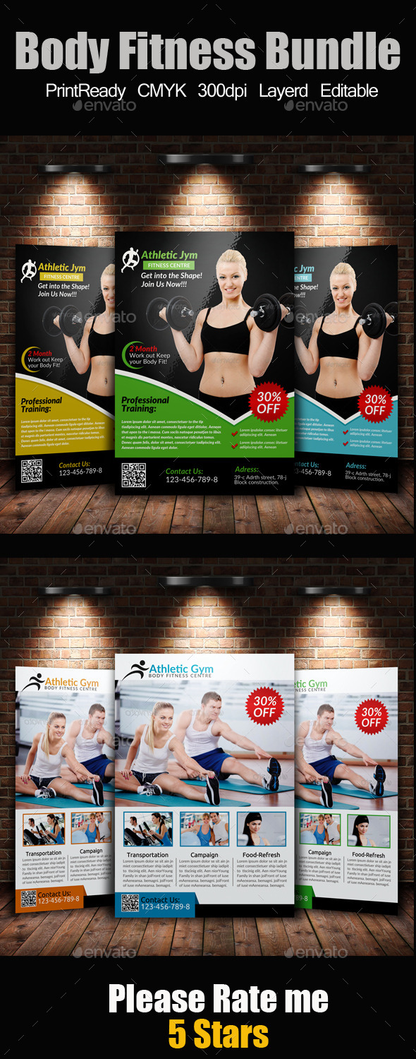 GraphicRiver A4 Body Fitness Flyer Bundle 9445732