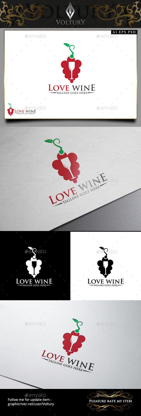 GraphicRiver Love Wine Logo 9445828