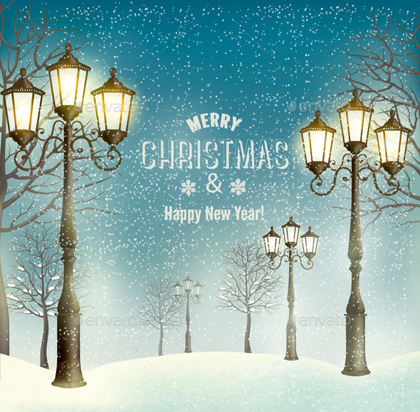 GraphicRiver Christmas Landscape with Vintage Lampposts 9445891