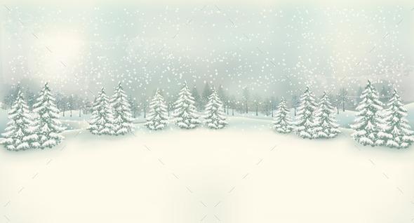 GraphicRiver Retro Christmas Winter Landscape Background 9445892
