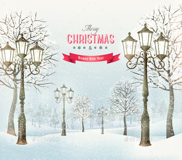 GraphicRiver Christmas Evening Landscape 9445938