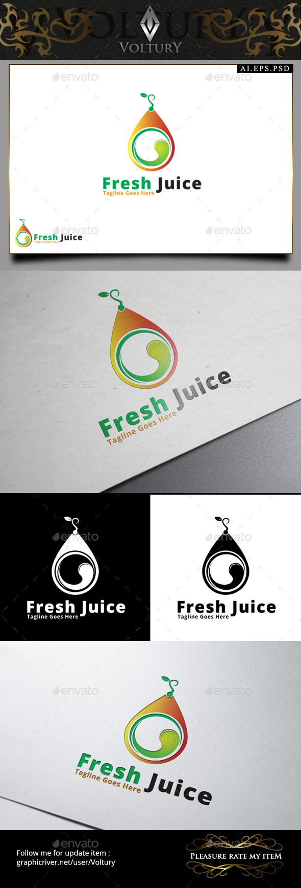 GraphicRiver Fresh Juice Logo 9445950