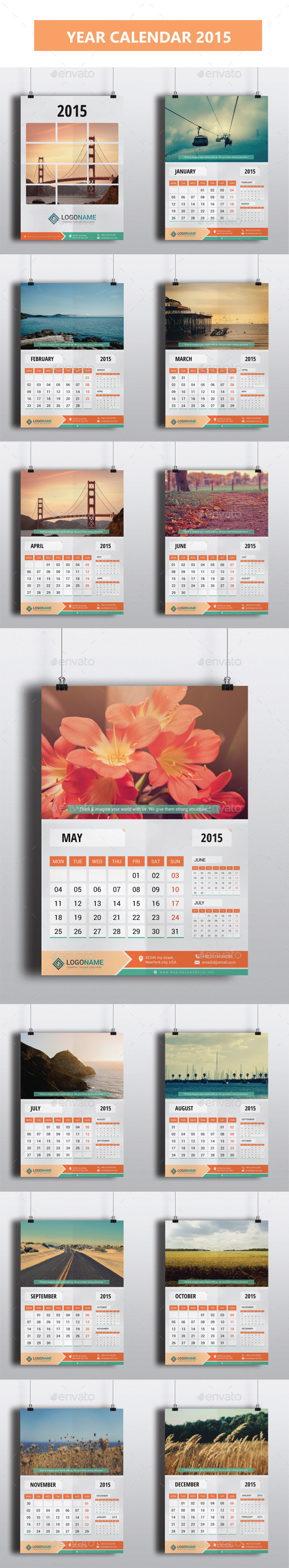 GraphicRiver Year Calendar 2015 9433219