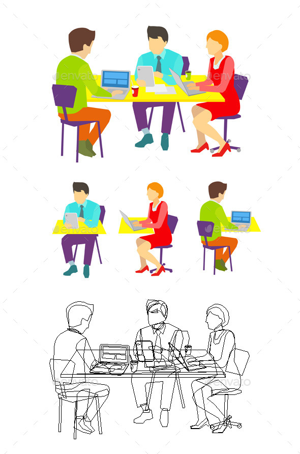 GraphicRiver Three People Working at the Desk 9447239