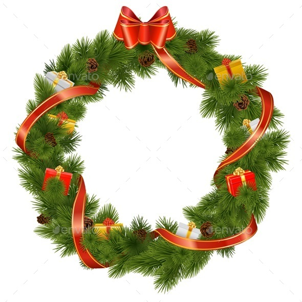 GraphicRiver Vector Christmas Wreath with Gifts 9447278