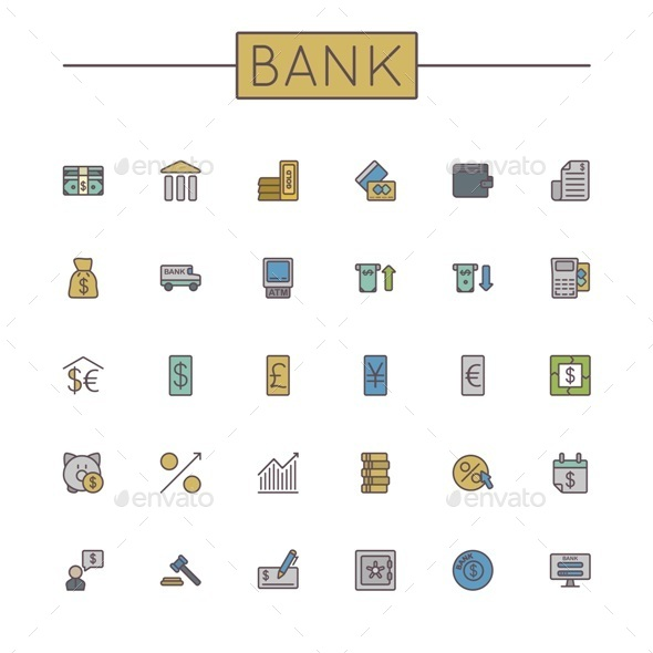 GraphicRiver Vector Colored Bank Line Icons 9447298