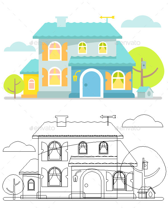 GraphicRiver Blue Cottage 9447302