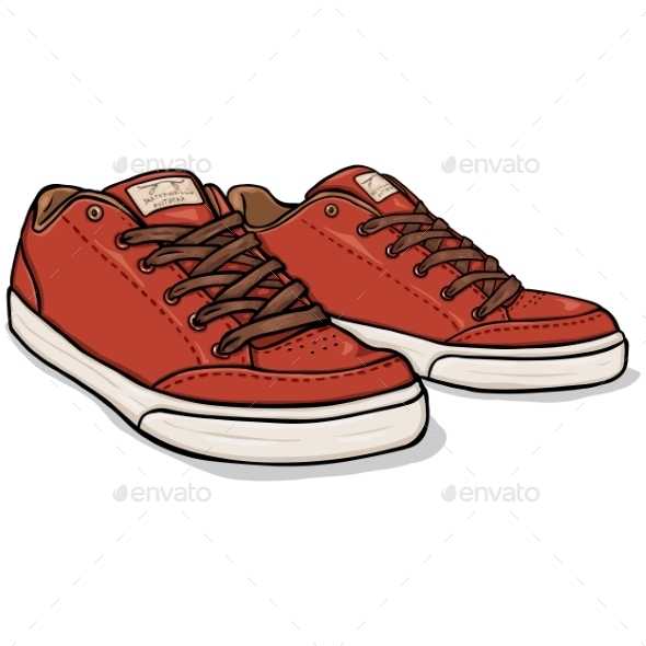 GraphicRiver Vector Cartoon Red Skaters Shoes 9447321