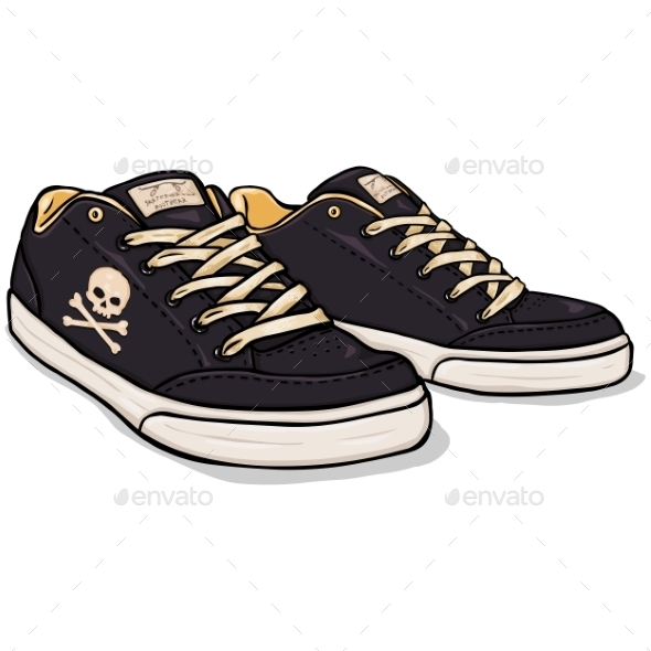 GraphicRiver Vector Cartoon Black Skaters Shoes 9447323