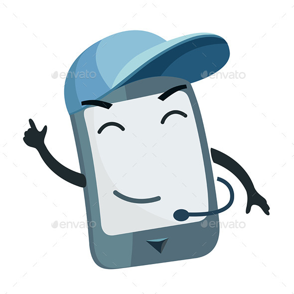 GraphicRiver Phone Character wearing a Cap 9447539