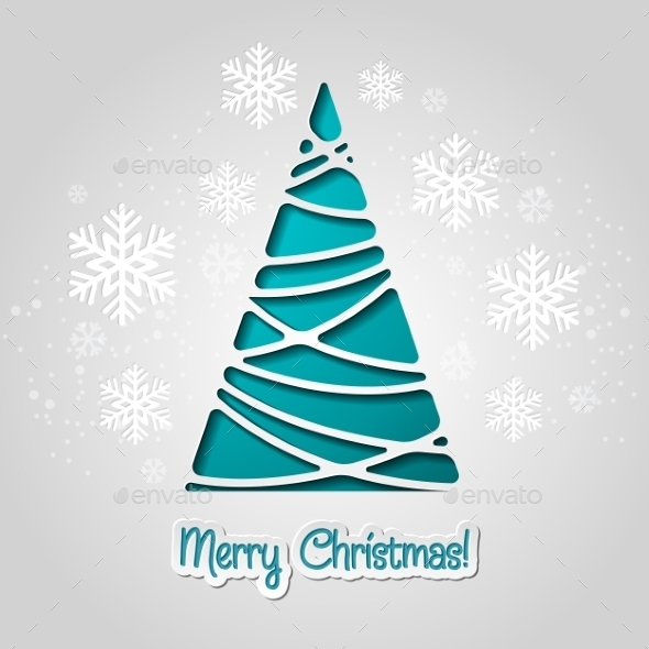 GraphicRiver Merry Christmas Tree Greeting Card 9447791