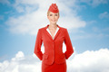Charming Stewardess Dressed In Red Uniform.  - PhotoDune Item for Sale