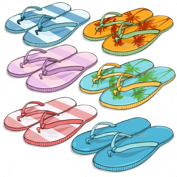 GraphicRiver Vector Set of Cartoon Beach Slippers 9447904