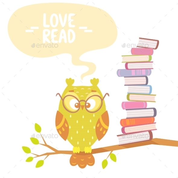 GraphicRiver Owl and Books 9448463