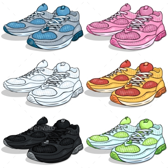GraphicRiver Vector Set of Cartoon Running Shoes 9448744
