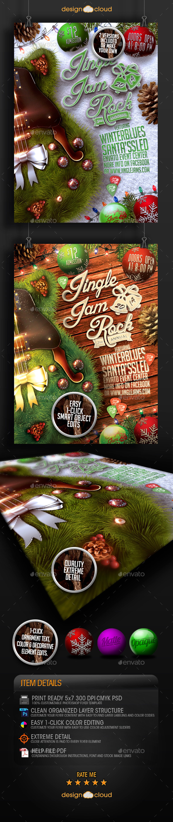 GraphicRiver Jingle Jam Rock Christmas Flyer Template 9449247