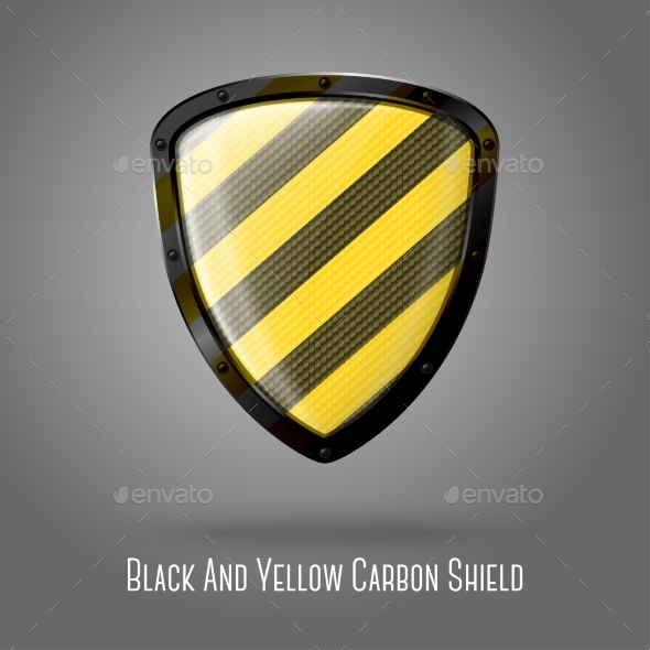 GraphicRiver Yellow and Black Caution Shield 9449451