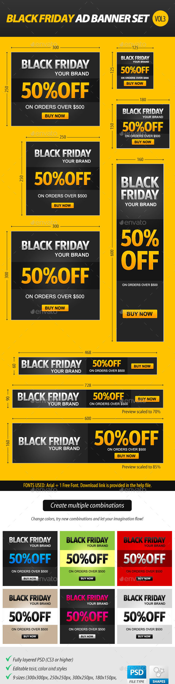 GraphicRiver Black Friday Ad Banner Set vol.3 9449511