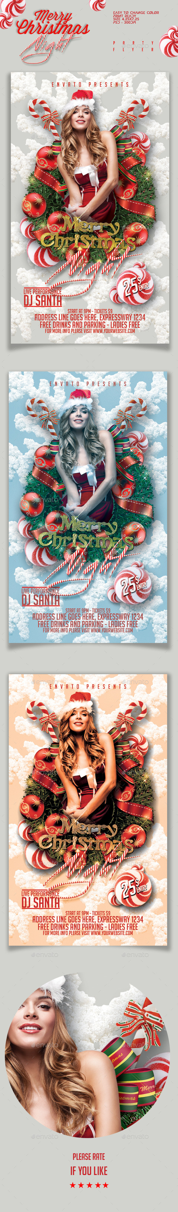 Merry Christmas Night Party Flyer