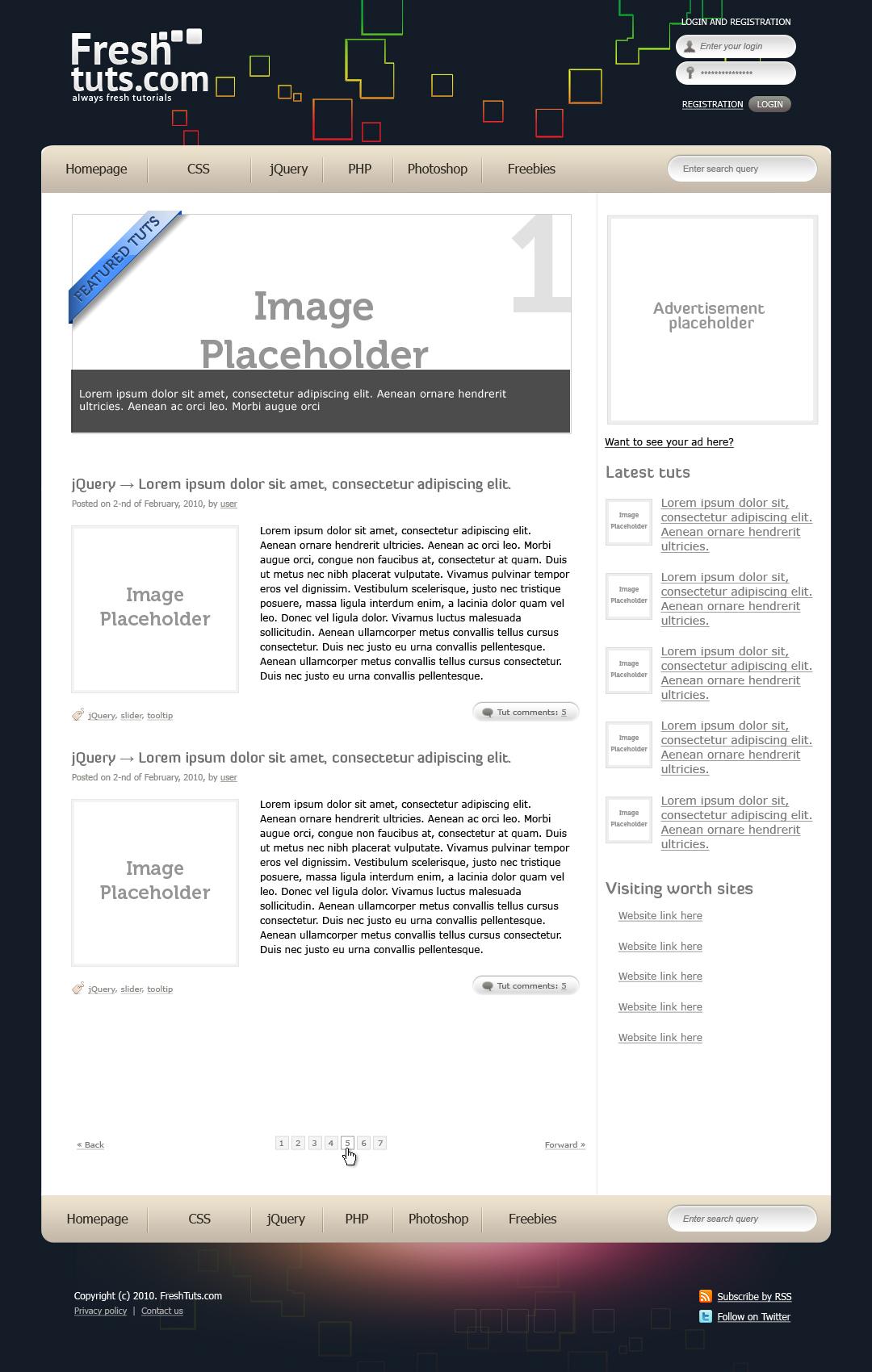 FreshTuts HTML Template - Homepage design.