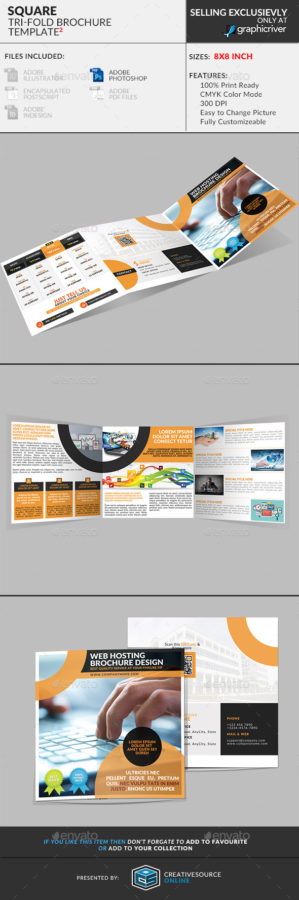 GraphicRiver Square Trifold Brochure Web Hosting Service 9450863