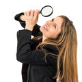 woman with magnifying glass - PhotoDune Item for Sale
