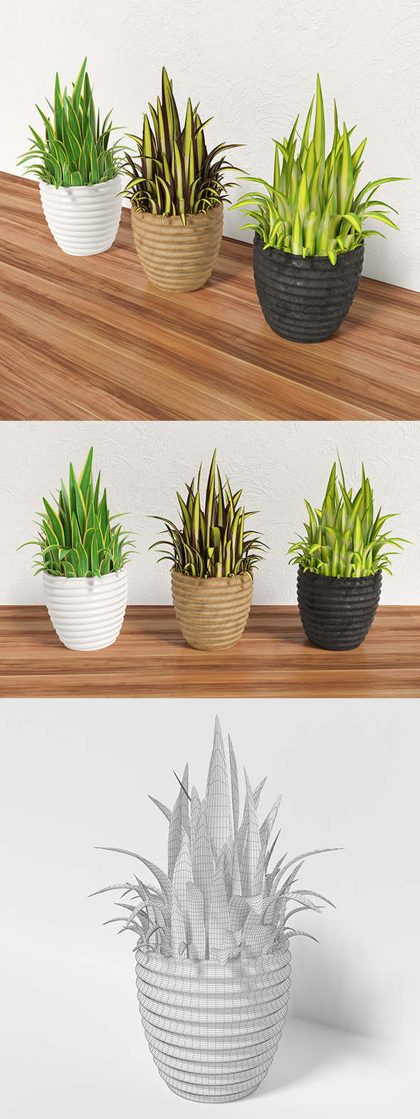 Decorative grass in a pot - 3DOcean Item for Sale