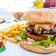 American cheese burger with Golden French fries - PhotoDune Item for Sale