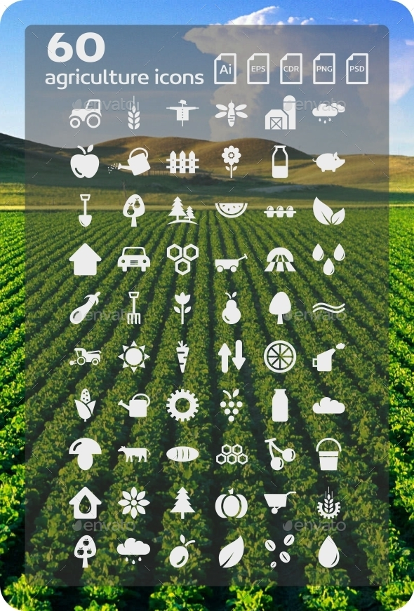 GraphicRiver 60 Agriculture Icons 9381862