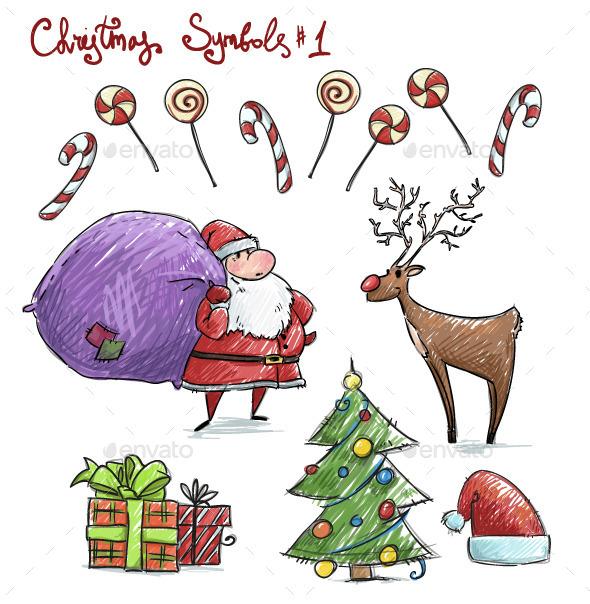 Doodle Christmas Symbols