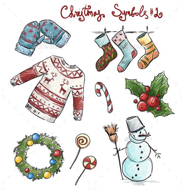 GraphicRiver Doodle Christmas Symbols 9451484