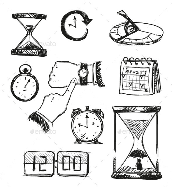 GraphicRiver Sketch of Time Symbols 9451608