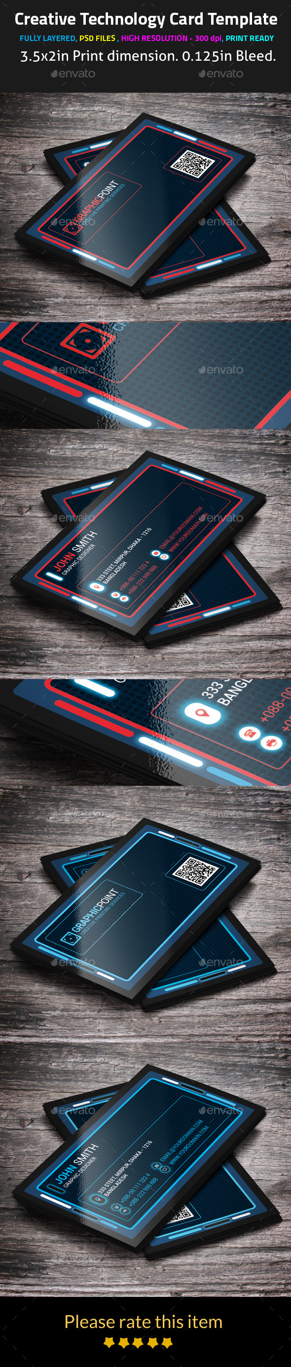 GraphicRiver Creative Technology Card Template 9451791