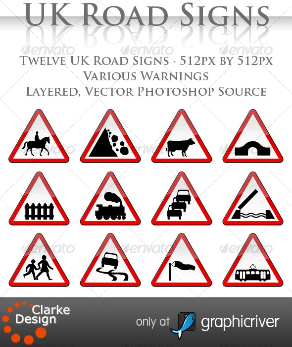 GraphicRiver UK Road Signs Warnings 120910