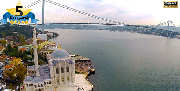 Aerial View of Mosque And Bosphorus