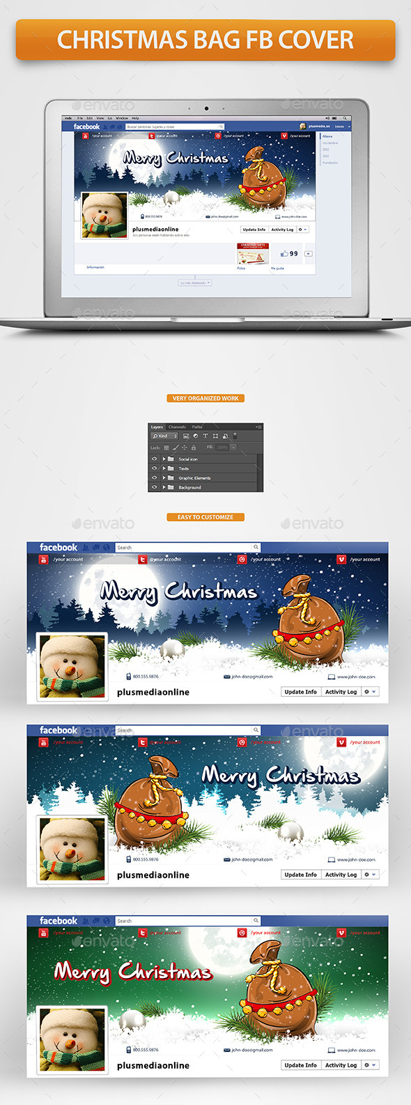 GraphicRiver Christmas Bag Facebook Timeline Cover 9452349