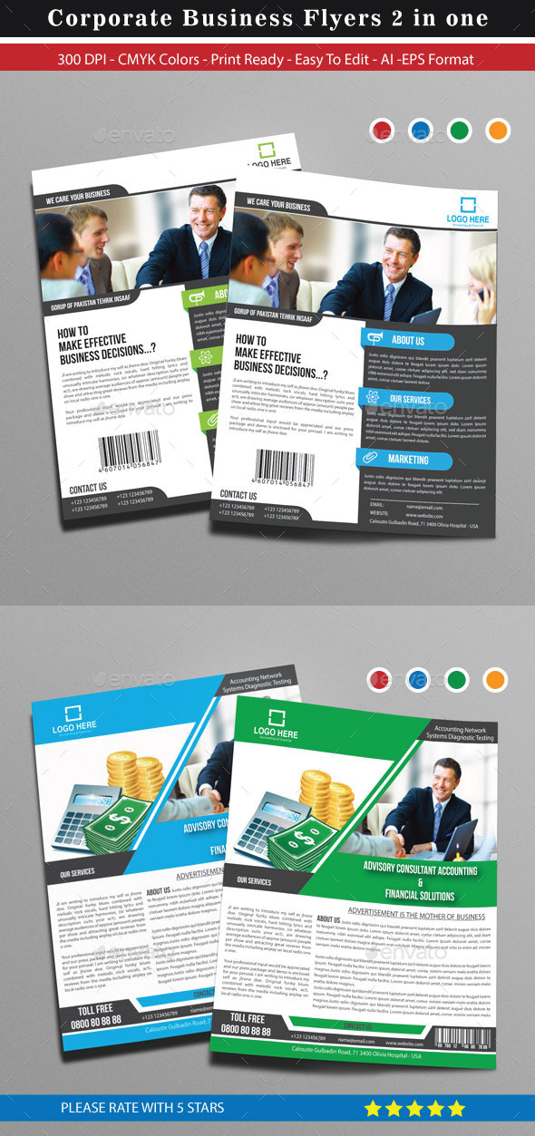GraphicRiver Corporate Business Flyers 2 in one 9452653