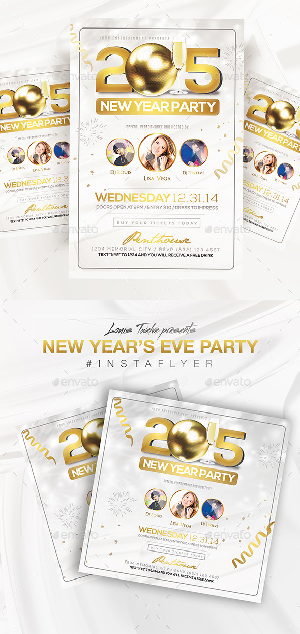 GraphicRiver Elegant New Year Party Flyer & Instapromo 9454156